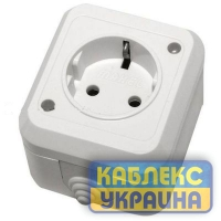 Роз. 1 с з/к откр. бел. IP44 MAKEL